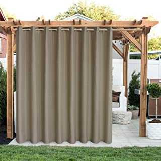 LORDTEX Linen Look Indoor/Outdoor Curtains, 105 x 120 Inch, Tapue, Set of 2 Panels – Waterproof, Privacy, Sun Blocking Tex...