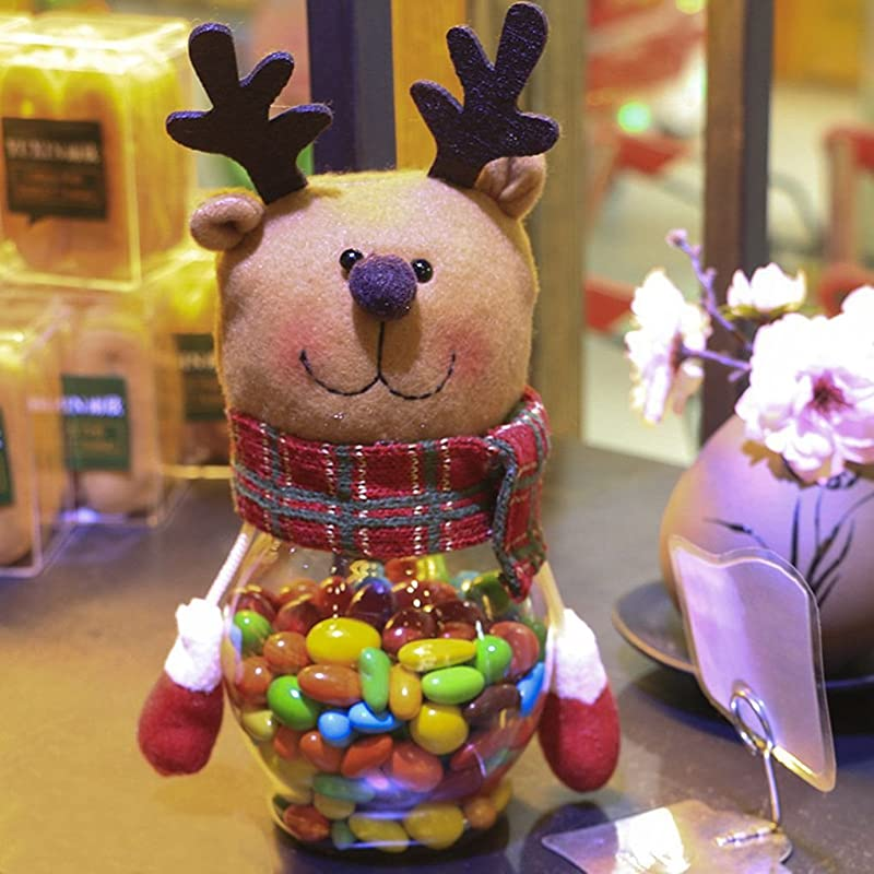 MuLuo Christmas Plush Plastic Candy Container Decorative Candy Jars Holiday