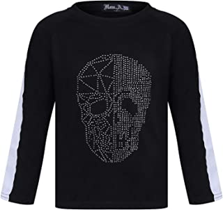 Aelstores Boys Skull Print Silver Studded Top Kids Jumper Girls Sweatshirt Tee Tops New Age 3-14 Years