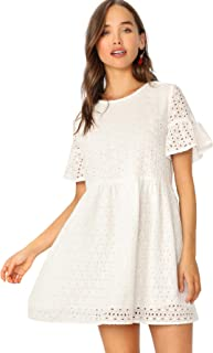 Floerns Women's Summer Hollow Out Ruffle Sleeve Tunic Babydoll Dress