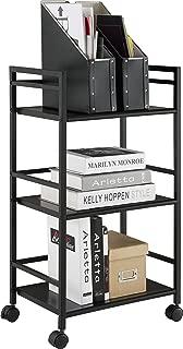 Ameriwood Home Marshall 3 Shelf Metal Rolling Utility Cart, Black