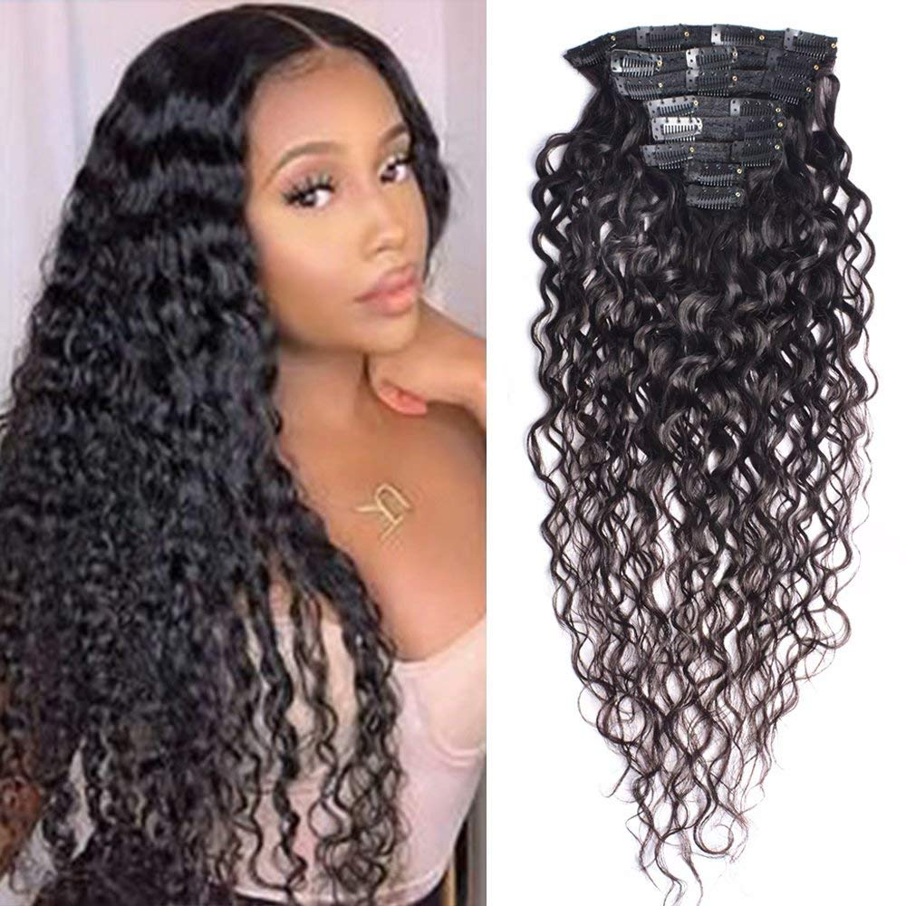 Maxine 22Inch 120g Clip in Jacksonville Mall Human Natural W Extensions Popular products Black Hair