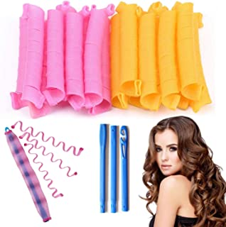 Magic Hair Curlers Spiral Curls Styling Kit,DIY No Heat Hair Curlers Colored Hair Rollers with 2 Pieces Styling Hooks for ...