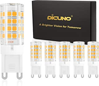 DiCUNO G9 LED Light Bulb 4W 40W Halogen Equivalent 450LM Warm White 3000K Non-dimmable AC100-240V, 6-Pack