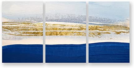 Nordic Modern Abstract Canvas Painting Blue Paint Gold Wall Art Lines Creative Decorative Painting for Living Room,15x20cm No Frame,04