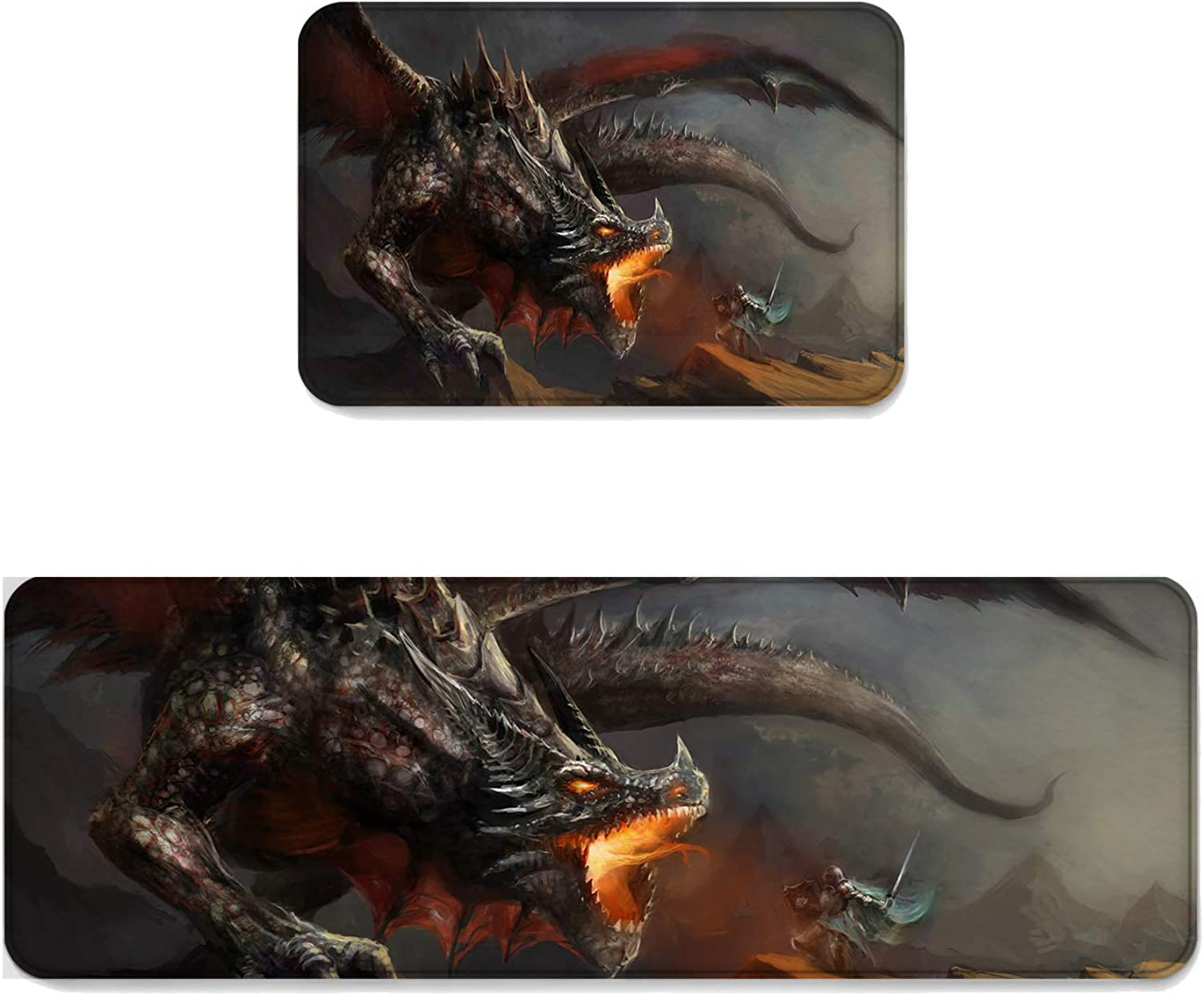 Fantasy Star Kitchen Rug Sets 2 Piece Floor Mats Non-Slip Rubber Backing Area Rugs Middle Ages Dragon Warrior Doormat Washable Carpet Inside Door Mat Pad Sets (19.7  x 31.5 +19.7  x 47.2 )