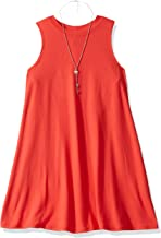 Amy Byer Girls' Big Everyday a-Line Dress with Necklace