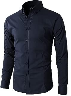 Men's Fashion Long Sleeve Plaid Button Down Casual Shirts Navy US M/Asia XL (KMTSTL0489)