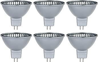 Sunlite Series 50MR16/CG/FL/12V/SB/6PK Halogen 50W 12V MR16 Flood Light Bulbs, Silver Finish, 3200K Bright White, GU5.3 Base, 6 Pack