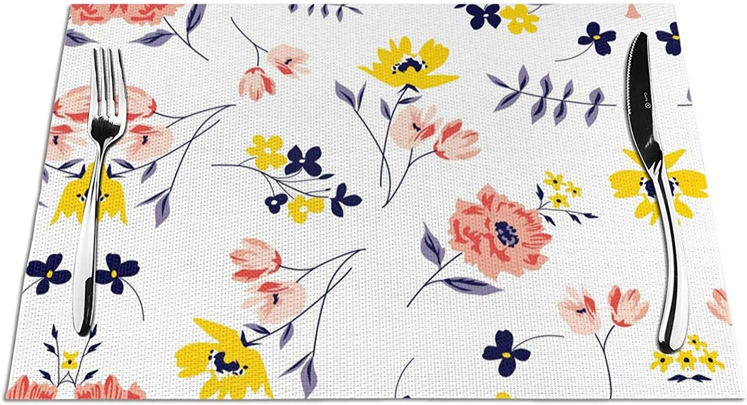 Seasonal Placemats Set of 6 for Colorful PVC Dining Table 1 year warranty Flower OFFer