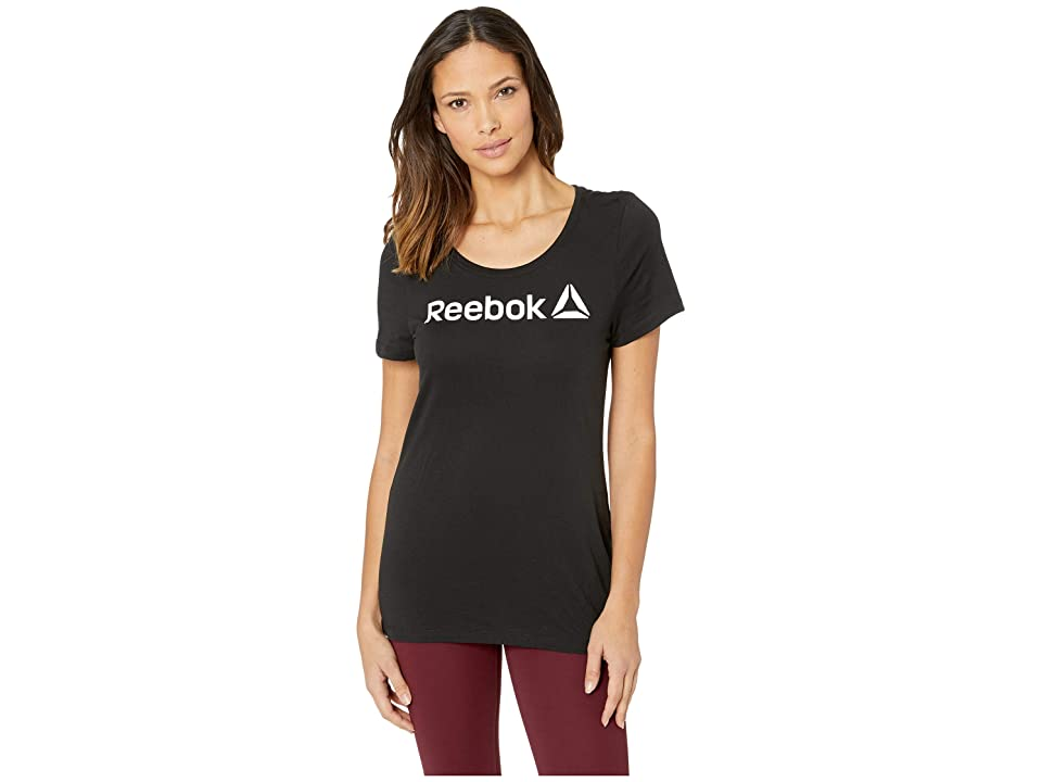 Reebok Linear Read Scoop Neck (Black/White) Women
