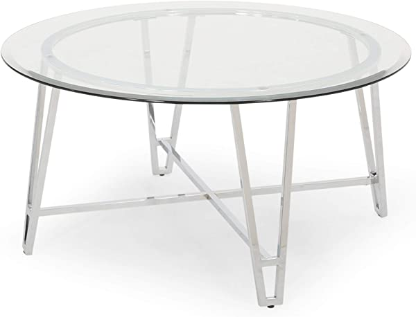 Phoebe Modern Iron Coffee Table With Round Tempered Glass Top Silver