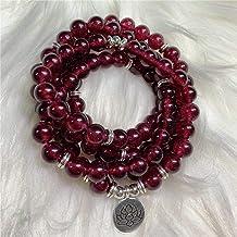 LHQ-HQ 8mm rood granaat lotus hanger 108 kraal mala elastische armband bid kleurrijke handgemaakte elegante chique meditat...