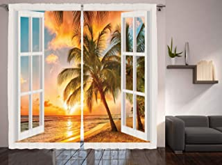 Ambesonne Beach Curtains, Sea Ocean Palm Tree Sunset Scenery House Wooden Windows of Art Pictures, Living Room Bedroom Window Drapes 2 Panel Set, 108