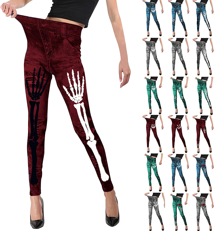 Halloween Women Butt Lifting Skinny Sales results No. 1 Skull Pumpkin Pants Face Brand Cheap Sale Venue Hig