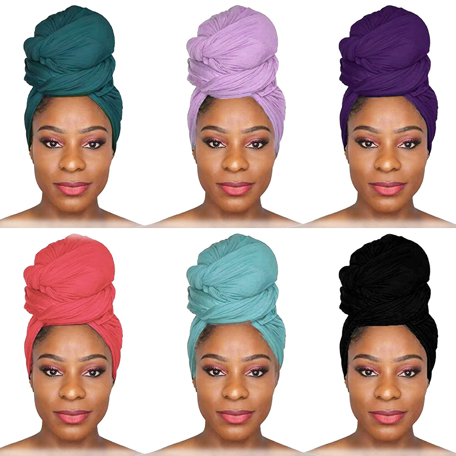 6 Pieces Fresno Mall Head Wraps Scarf Long Jersey Al sold out. Turban Ultra Soft Stretch