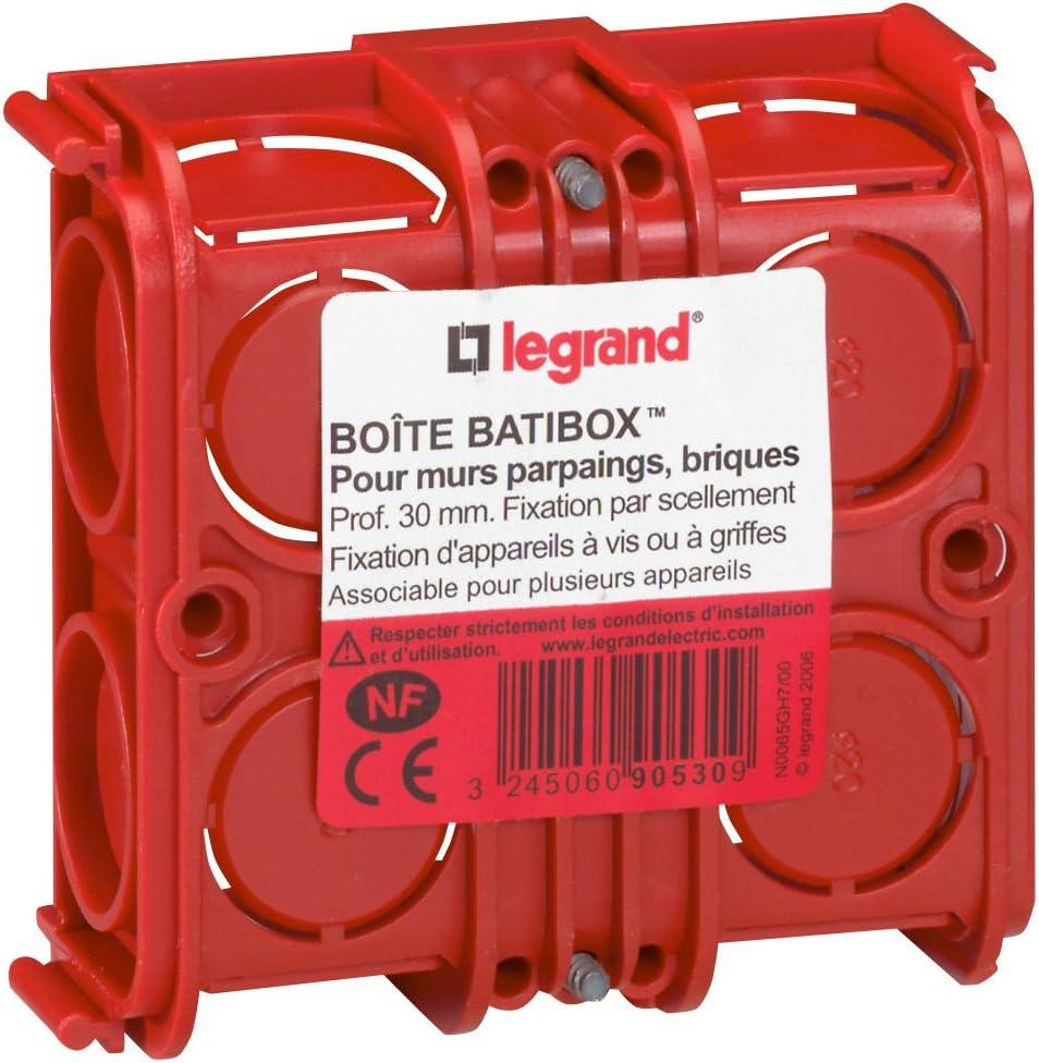 profondeur 40mm Legrand LEG90541 Boite dencastrement  Batibox 1 poste Plaques de Pl/âtre