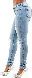 Women's Curvy Fit Light Blue Stretch Denim Destroyed Skinny Jeans