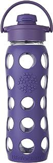 Lifefactory 22盎司(约623.69g)无BPA 玻璃杯 经典杯盖和保护性硅胶杯套  紫色