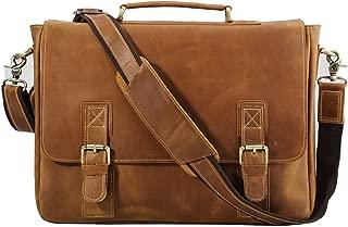 Polare Vintage Genuine Leather Tote Briefcase Professional 16'' Laptop Shoulder Messenger Bag (Light Brown)