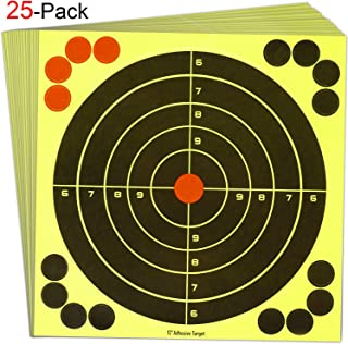 EWETON 25PCS 12 Inch Reactive Splatter Shooting Targets Practice Paster, Sports Outdoor Silhouette Self Adhesive Bullseye Target Training for Shooting Games, Handgun, Firearms, Arrows, Darts, Archery