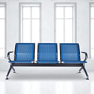 Reception Bench Seating Airport Chairs Waiting Area Bench Seating with Arms for Office, Bank, Hospital, School, Barbershop