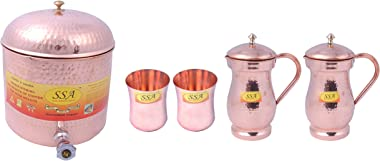SHIV SHAKTI ARTS® 1 Pure Copper Cylindrical Shape Tank/Container Pot Capacity 7 Litre with Lid & 2Copper Glass Plane &amp