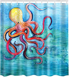 Artown Red Octopus Shower Curtain, Mint Green Sea Jellyfish Ocean Animal Kraken with Tentacles Peculiar Hand Abstract Effect Printing, Fabric Bathroom Decor Set with 12 Hooks,72 x 72 Inches Long