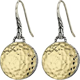Dot Hammered Round Drop Earrings On French Wire