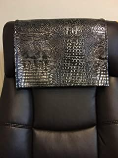 luvfabrics 14 by 30 INCH Black Silver Alligator Vinyl Sofa Loveseat Chaise Theater Seat, RV Cover, Chair Caps Headrest Pad, Recliner Head Cover, Furniture Protector