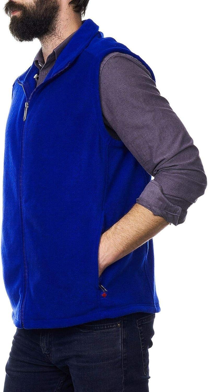 prama_ruo Mens Full Zip Up Fleece Vest Lightweight Warm Sleeveless Jacket (Small, Blue)