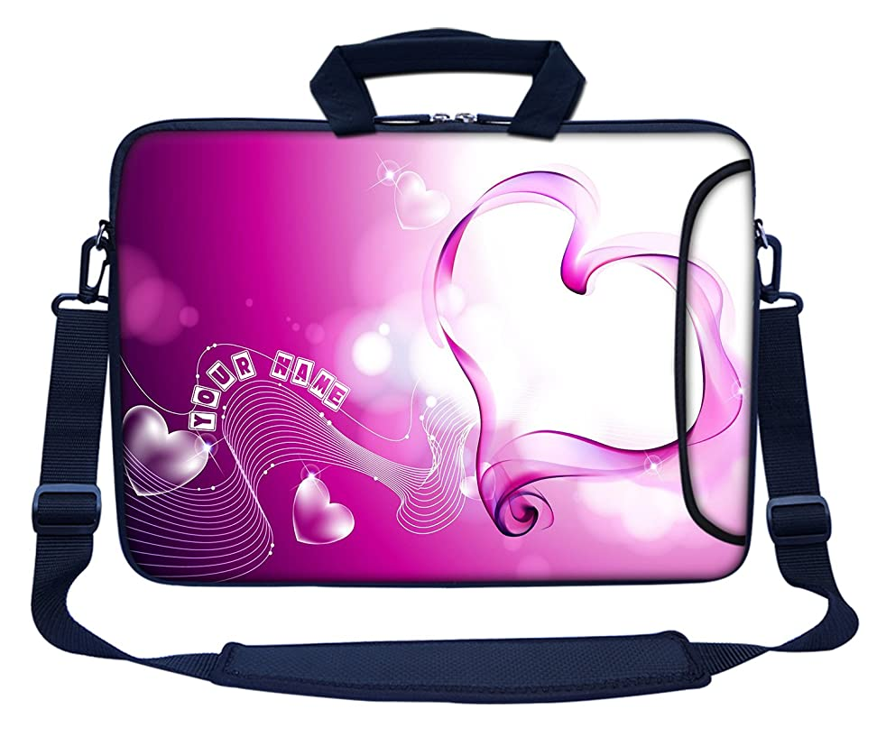 Meffort Inc Custom/Personalized Laptop Bag with Side Pocket & Shoulder Strap for Notebook Ultrabook Chromebook, Customized Your Name (11.6 Inch, Pink Heart)