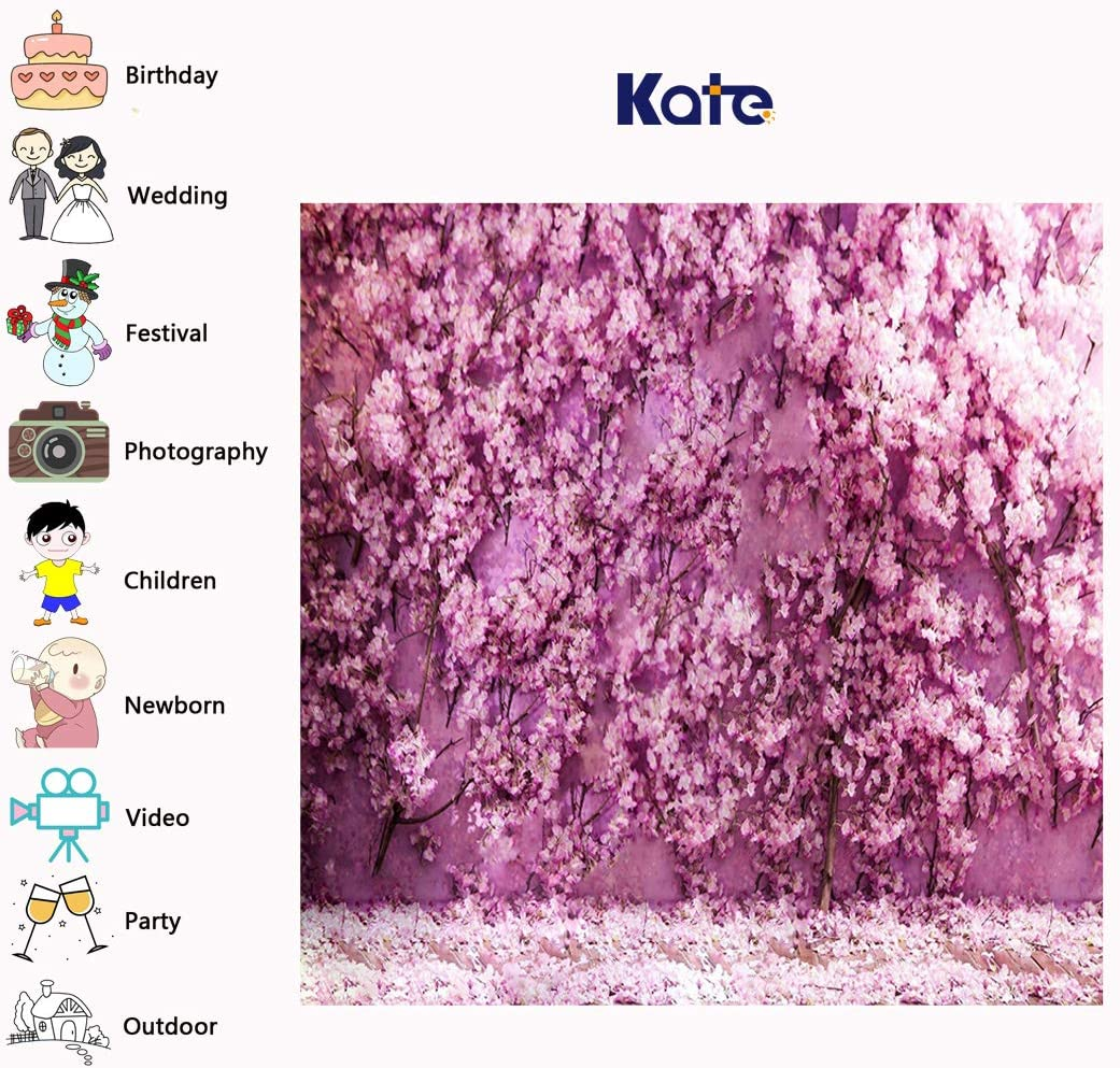 Kate 10x6.5ft Romantic Lovers Wedding Photo Background Pink Flowers Wall Backdrops for Photography Microfiber Newborn Baby Shower Backdrop