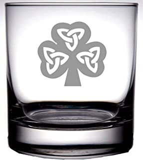 IE Laserware Irish Celtic Shamrock 12.5 oz Old Fashion Scotch Whiskey Glass