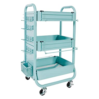 Recollections Gramercy Cart, Teal – 3 Tier Rolling Cart with 10 Storage Accessories for Craft Storage and More