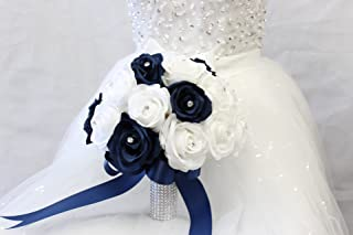 Bridal Bouquet - Navy Blue White with Ribbon and Rhinestone - Silk Flower