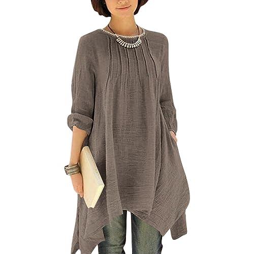 3fc8344bcda BIUBIU Women Vintage Long Sleeve Linen Cotton Casual Boho Pocket Irregular  Dress UK 6-20