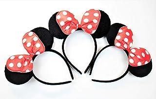 G&Gvshop 3 Minnie Mouse Ears Headband Black with Red Dot Bow & Light-UP Mickey Mouse Ears Headband Costume