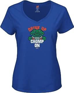 Florida Football Fans. Drink Up Chomp On. Royal Ladies T-Shirt (Xs-2X)