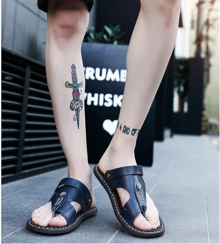 Mens Sandals Genuine Leather Men Summer Shoes Leisure Slippers Flip-Flops Men Comfortable Footwear Soft