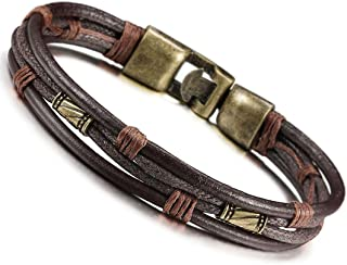 Mens Vintage Leather Wrist Band Brown Rope Bracelet Bangle