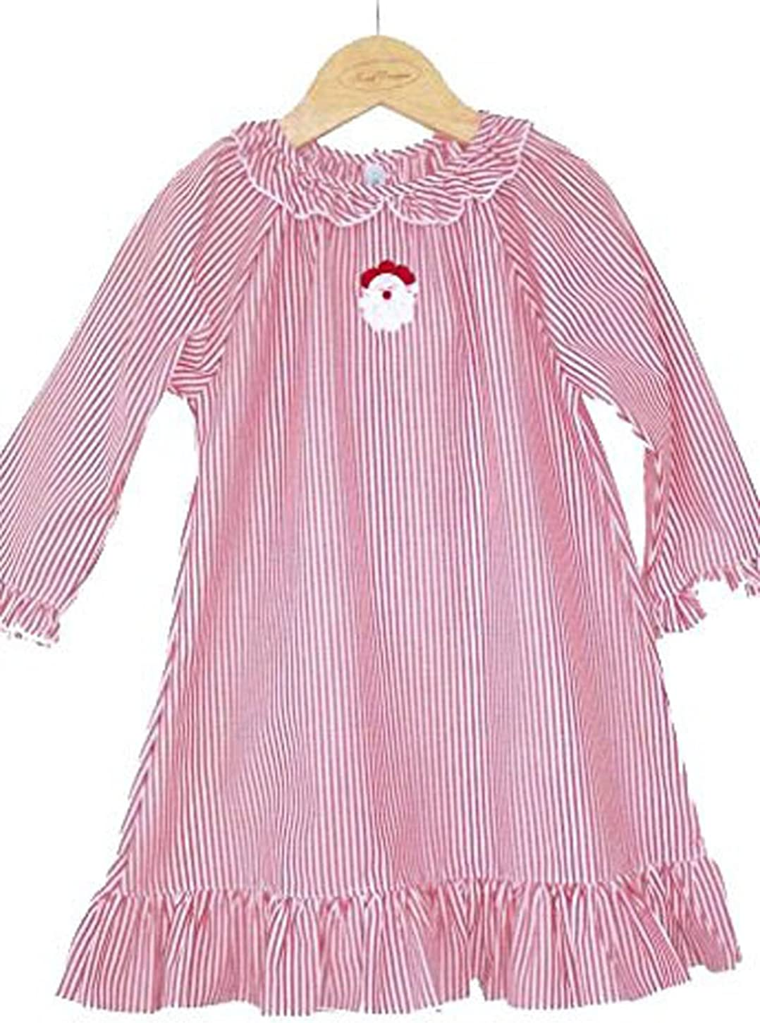 Christmas Night Gown with Santa Embroidery, Red and White Stripe