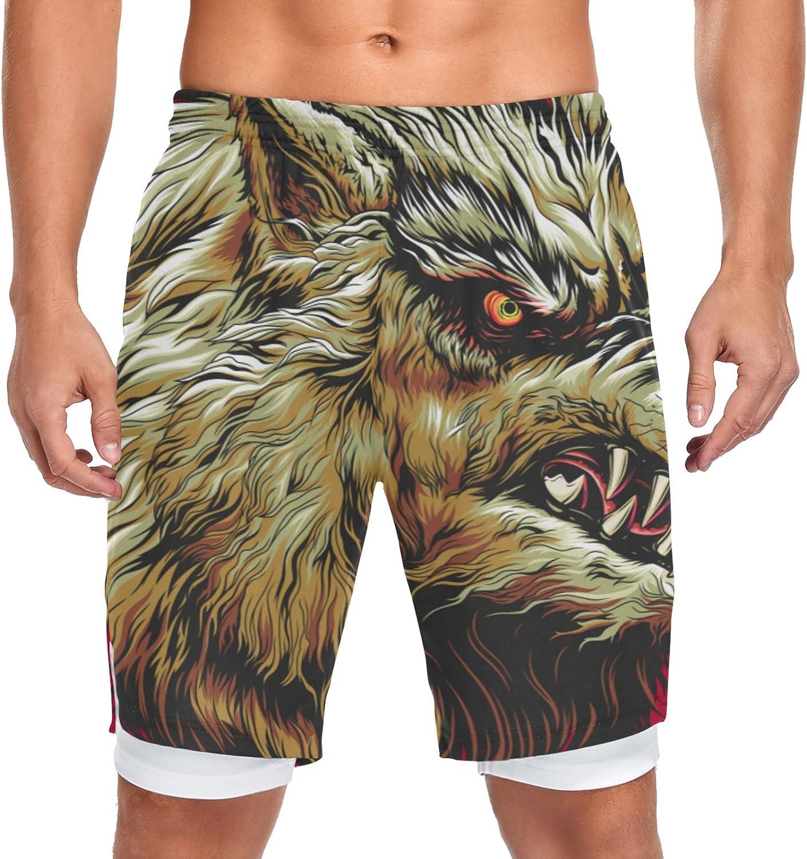 Running Shorts Angry Wolf Head Dark Training Men Ranking TOP16 S Workout Nashville-Davidson Mall Sport