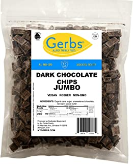 Gerbs Jumbo Dark Chocolate Chips, 1 LB (semi-sweet) - Top 14 Food Allergy Free & NON GMO - Product of Canada