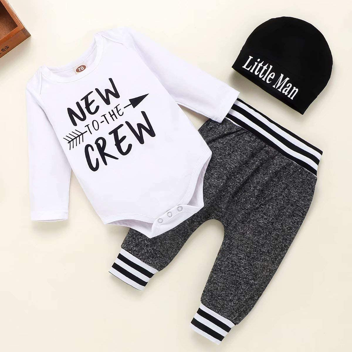 CETEPY Baby Boy Girl Clothes Romper Outfits 3Pcs Newborn Infant Boy Clothing