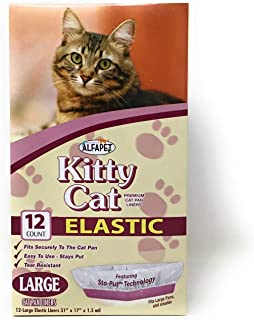 Alfapet Kitty Cat Litter box Disposable, Elastic Liners- 12-count-For Medium and Large, Size Litter Pans- With Sta-Put Technology for Firm, Easy Fit- Quick + Clever Waste Cleaners