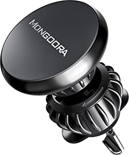 Mongoora Magnetic Phone Mount (Car Air Vent Holder) - Sturdy, Rotating Magnet Stand Compatible with iPhone, Android - 1 Mount, 6 Magnets - Travel Accessories