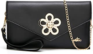 Andrya Ladies Purses Leather Handbags Cross Body Shoulder Bags Wristlet and Clutches for Women Black