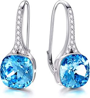 AOBOCO S925 sterling-silver oval-shape blue crystal