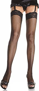 Women's Fishnet Lace Top Thigh High Stockings